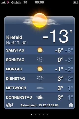 Eises Kälte in Krefeld
