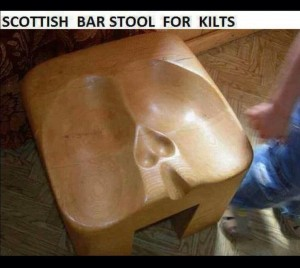 Scottish bar stool for kilts